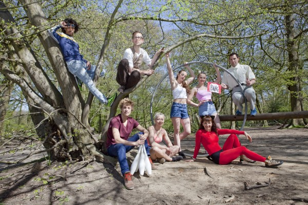 Circus performers use the green spaces of Highgate Wood to show their disciplines