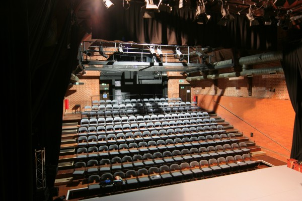 JL theatre rake, grey chairs and stage